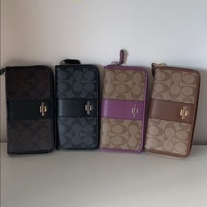 COACH SIGNATURE LONG ZIP WALLET F54630